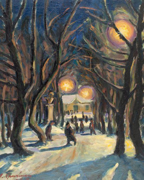 Uudenvuodenyö Snellmanin puistossa 1929 öljymaalaus 65 x56 cm Hyvinkään taidemuseo, Sonckin taidekokoelma Kuva: Ella Tommila, Hyvinkään taidemuseo