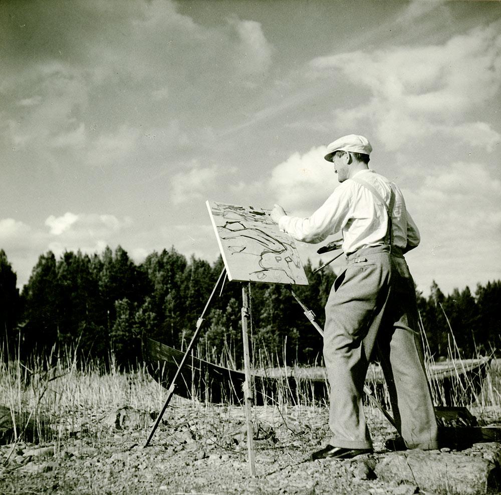 Ulkoilmamaalari Yrjö Saarinen. Kuva: Hyvinkään taidemuseo, Yrjö Saarisen (jr.) arkisto